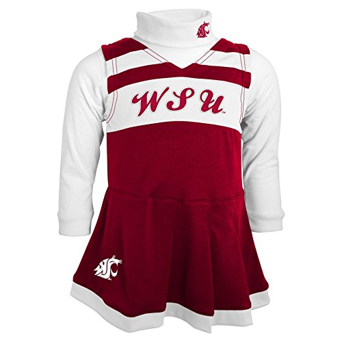 (Outerstuff NCAA Washington State Cougars Toddler Turtleneck Cheer Jumper Dress, 2 Tall, Dark Red)