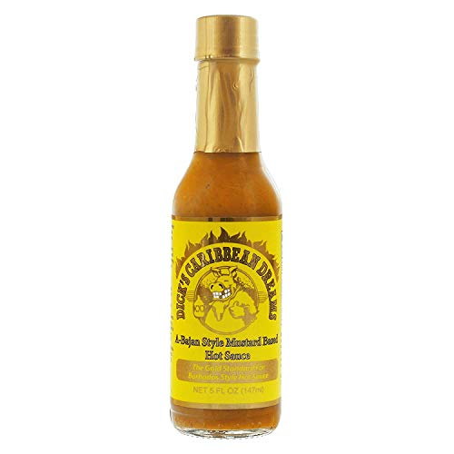 Dirty Dick's Hot Sauce - Caribbean Dreams A-Bajan Style Mustard Based Hot Sauce 5 Oz, white, XX-Large