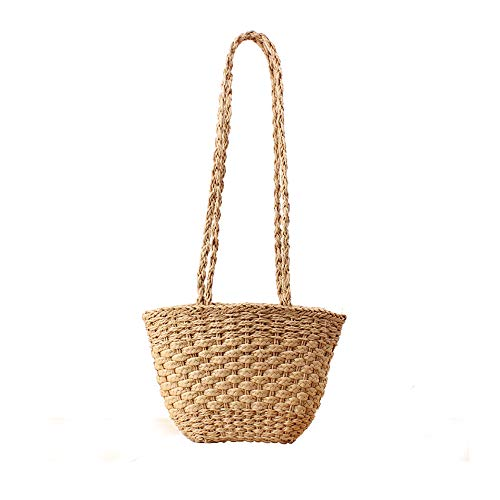 Handmade Bohemian Straw Beach Bag For Women,Woven Shoulder Bags Summer Knit Handbag Drawstring Basket Bag Tote (Coffee)