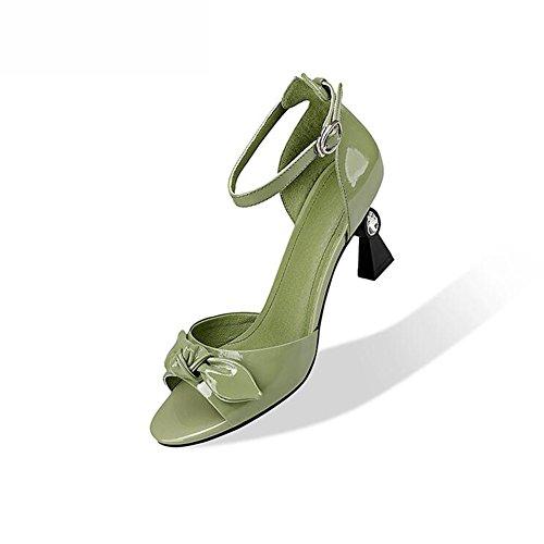 Cm Ly DALL Chaussures 735 Pour Couleur Blanc CN Talons Hauteur Printemps Poisson Escarpins UK Femmes Hauts Fashion 5 3 Talons Mince Et 8 35 De EU taille Bouche Sandales 35 Vert Été rR5rq