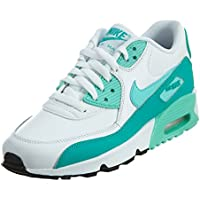 Nike Air Max 90 Letter Big Kids Style Shoes : 833376, White/Hyper Turquoise/Clear Jade, 7
