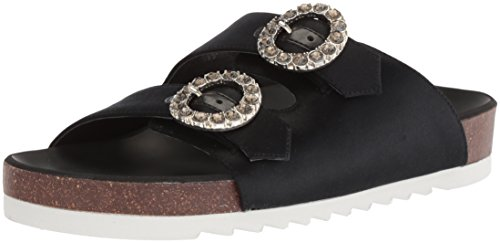 WoMen Nine Slide Sandal Illwait West Black Satin Satin BTTqw5z