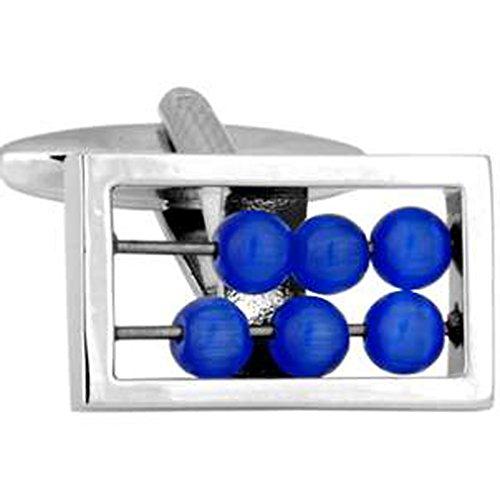 Paire de manchettes Abacus bleu personnalisée gravée fort en option