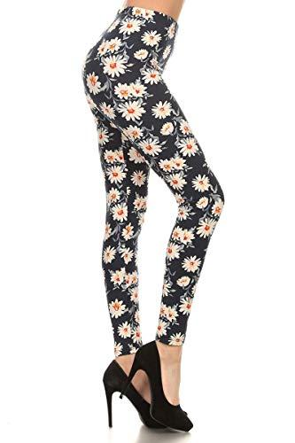 R592-EXTRAPLUS Fancy Daisies Print Fashion Leggings
