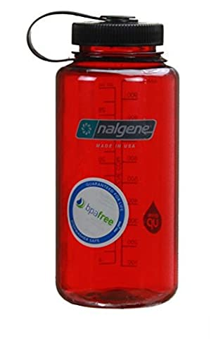 Nalgene Wide Mouth Bottle (Outdoor Red w/ Black Lid, 1 QT) - Nalgene Lid