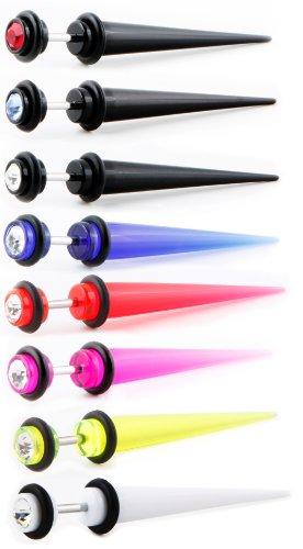 """Coolbodyart faux plug taper barre longueur: 44 mm """"classic"""" - 8 coloris au choix-rose transparent"""