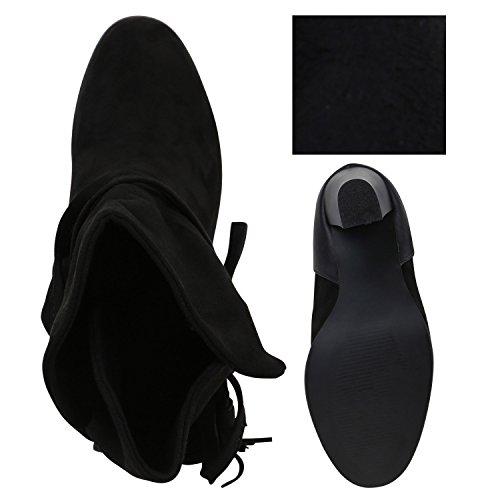 Stiefelparadies Klassische Damen Stiefeletten High Heels Stilettos Schleifen Flandell Schwarz Quasten