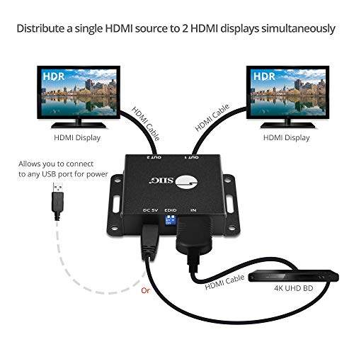 SIIG 1x2 Port HDMI 2.0 Splitter 4K 60Hz HDR Compact USB Powered Auto Scaling HDMI Splitter - HDMI 2.0a HDCP 2.2, 18Gbps, YUV 4:4:4, 3D, EDID, Dolby Digital - 1 in 2 Out (CE-H23K11-S1)