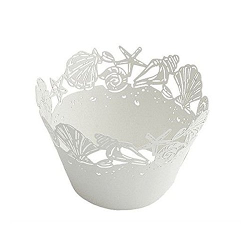 Tinksky Cupcake Wrappers 50 Seashell Laser Cut Bake Cake Paper Cups Baking Cup Muffin Case Trays for Wedding Party Birthday Decoration (White)