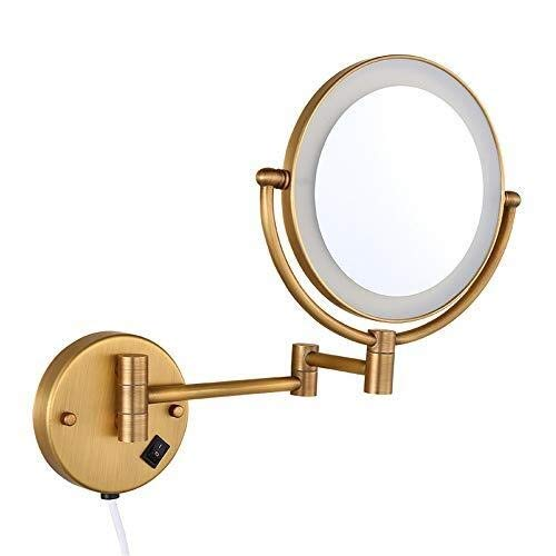 (LED Vanity Makeup Mirrors,8 Inches Wall Mount Double Sides 3X Magnifying Lights Brass Hotel Bathroom Shaving Cosmetic Mirror Folding Arms Mirrors )