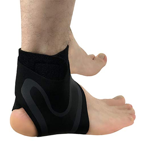 Mayunn Adjustable Elastic Ankle Support Sleeve Elastic Ankle Brace Guard Foot Support Sports - Reduce Sports Injuries, Recovery After Injury (Black) (A, M)
