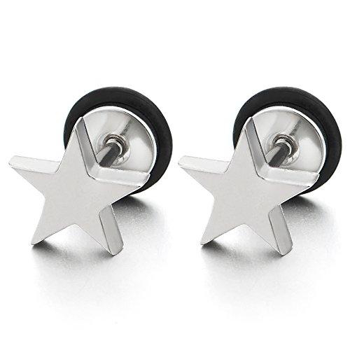 Stainless Steel Plain Pentagram Earrings