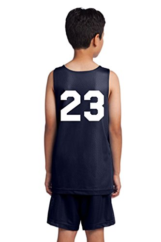 Players Inc Youth Basketball Custom Numbered Reversible Mesh Uniform Top Navy-White