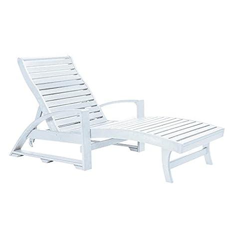 CR Plastic L3802 Saint Tropez Chaise Lounge With WheelsWhite