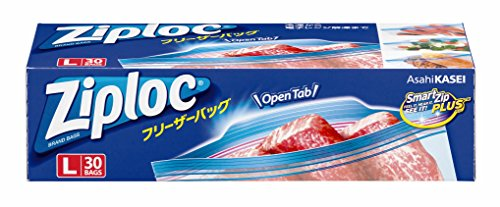 ジップロック フリーザーバッグ Lサイズ 30枚入 ジッパー付き保存袋 冷凍・解凍用 (縦27.3cm×横26.8cm)の商品画像