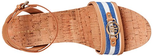 Tommy Hilfiger Hesley de las mujeres sandalias de cuña Biscuit/Blue Multi