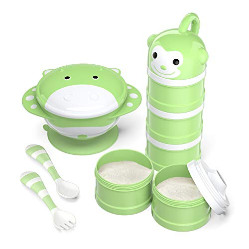 BabyKing Baby Feeding Set Harmless & Cartoon, Baby Suction Bowl Set, Children Tableware Set, Suction Bowl, Spoons Forks Set, Milk Powder Dispensers for Baby's 3 Meals (Green) from BabyKing