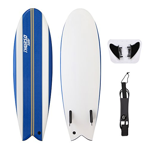 THURSO SURF 5'10'' Soft Top Surfboard Shortboard Includes Fins and High-end Ankle Leash. Built in Non Slip Deck Grip, EPS Core, HDPE Slick Bottom, IXPE Deck