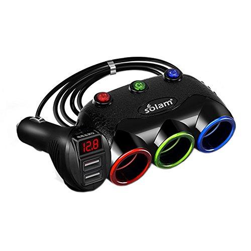 ZJEGO 120W Cigarette Lighter Adapter 3-Socket Splitter with 12V/24V Dual USB Car Charger - Separate Switches - Digital Battery Voltage Detection LED Display (Black)