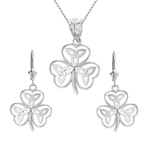 925 Sterling Silver Irish Shamrock Necklace with Celtic Trinity Knot Earring Set, -