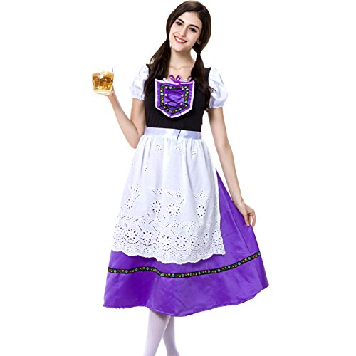 Hongyuanbb Deluxe Ladies Beer Maid Wench Costume Oktoberfest Octoberfest German Fancy Dress Cosplay Costume Polyester (German Outfit For Oktoberfest)