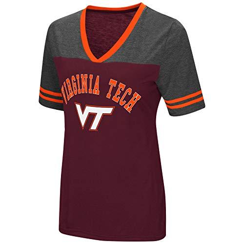 (Colosseum Women's NCAA Varsity Jersey V-Neck T-Shirt-Virginia Tech Hokies-Maroon-Medium)