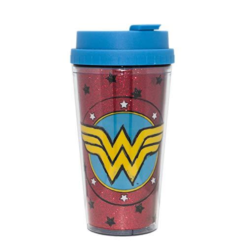 DC Comics WW1132B2G Wonder Woman Sketch Logo Glitter Double Wall Plastic Travel Mug, 16-Ounce, Red and ()