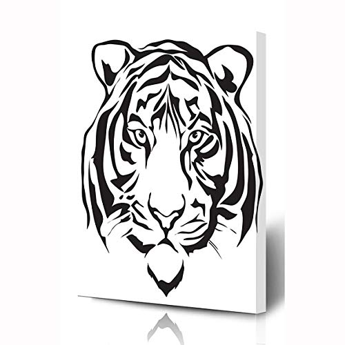 (Ahawoso Canvas Prints Wall Art 8x10 Inches Face Tiger Head Wildlife Bengal Graphic Tattoo Pattern Drawing Cat Wooden Frame Printing Home Living Room Office Bedroom)