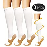 Copper Compression Socks For Men & Women-3 Pairs- For All Sports, Flight, Travel