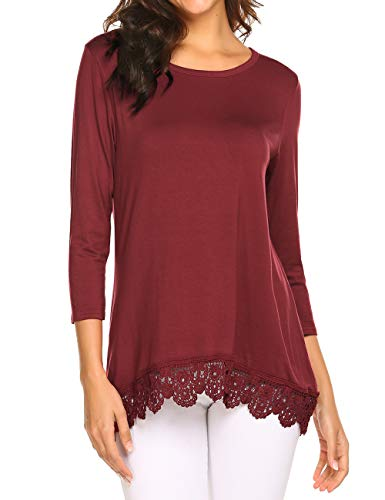 Halife Womens Tunic Tops 3/4 Sleeve Lace Scoop Neck A-Line Tunic Blouse Pullover Wine Red,M (3/4 Top Scoop Sleeve Neck)
