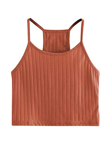 Cropped Sleeveless (SheIn Women's Summer Basic Sexy Strappy Sleeveless Racerback Crop Top X-Small Orange)