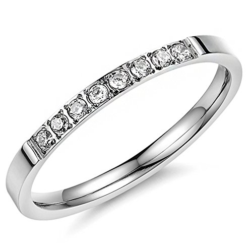 Women 2mm Titanium Stainless Steel Cubic Zirconia CZ Inlay White Gold Ring Wedding Engagement Silver Band Size 6