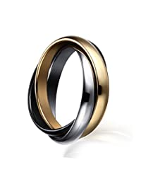 Womens Stainless Steel Tri-color Interlocked Trinity Ring for Wedding Engagement Promise