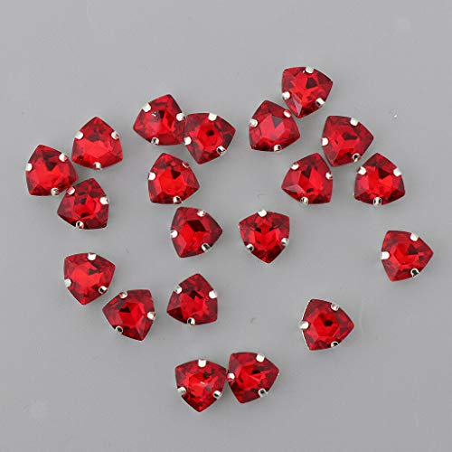 (20pcs 12mm Sew on Glass Crystal Rhinestone Flatback Beads for Jewelry Making | Color - Red)