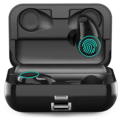 【90H Playtime】 Upgraded Wireless Bluetooth Earbuds, Arbily Noise Cancelling Earbuds with Microphone IPX7 Waterproof Cordless Headphones with Charging Case, v5.0 Bluetooth Wireless Earbuds for Running