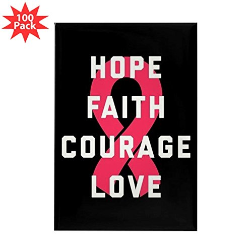 CafePress - Hope Faith Courage Lov - Rectangle Magnet (100 pack) by CafePress
