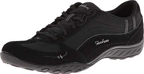 Skechers Leather Lace Up Sneakers (Skechers Sport Women's Just Relax Fashion Sneaker, Black Suede/Mesh/Charcoal Trim, 7 M US)