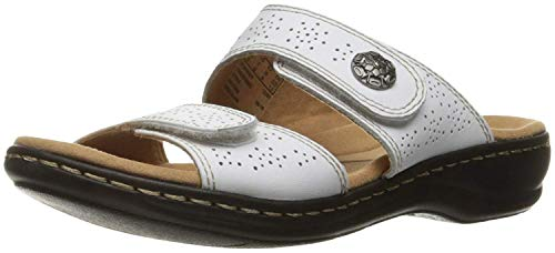 CLARKS Women's Leisa Lacole Slide Sandal, White Leather, 12 N US