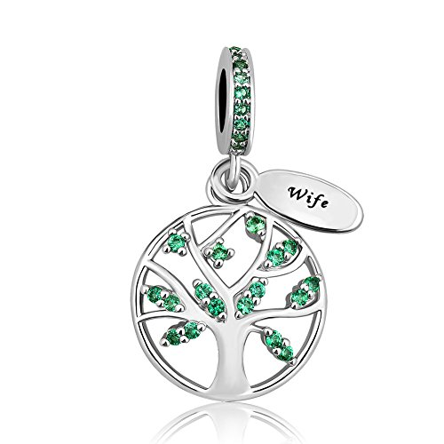 LovelyJewelry New Family Tree of Life Dangle Charm Bead for Bracelet Pendant (Wife -Green) ()