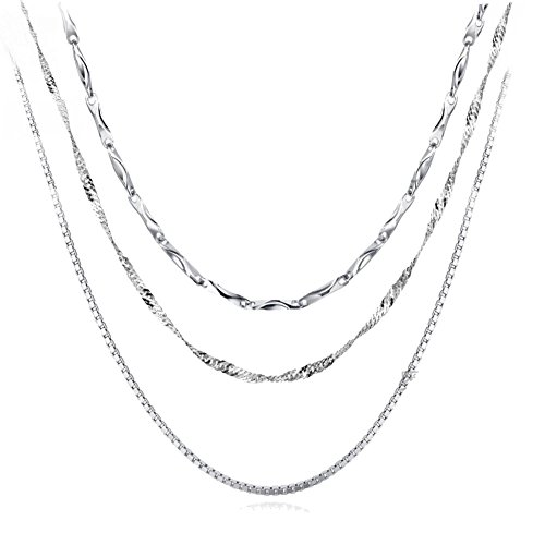 Silver Jewelry 18' Box (Sterling Silver Chain Necklace Necklaces for Women Platinum Plated 18'' Chains 3PCS)