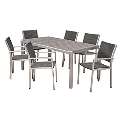 Coral Outdoor 7 Piece Aluminum and Wicker Dining Set with Faux Wood Table Top, Gray Finish