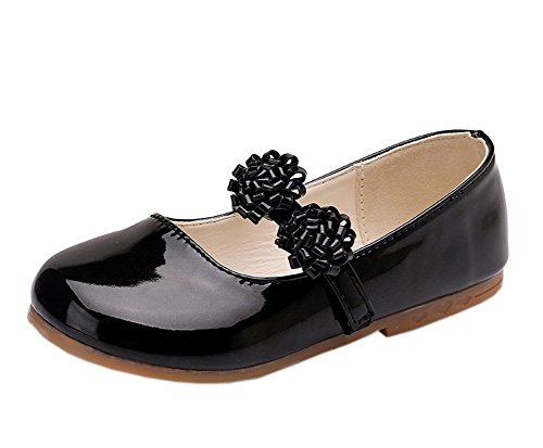 Vokamara Flower Girl Shoes Basic Round Toe Patent Ballerina Flats Black 8 (Leather Black Toddler)