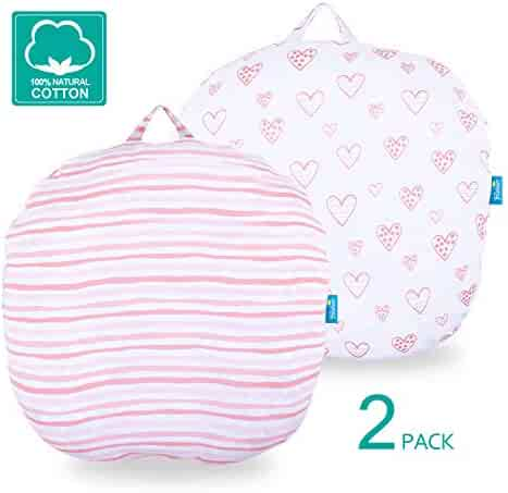 Newborn Lounger Pillow Cover 2 Pack, 100% Jersey Knit Cotton Silky Soft Stretchy Removable Slipcover for Girls Boys, Snugly Fit Infant Lounger for Baby