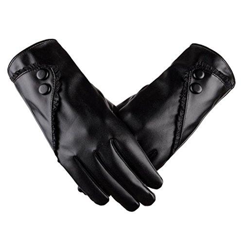 Winter Warm Gloves,Hemlock Women's Waterproof Driving PU Leather Gloves Phone Screen Touch Mittens (Black)