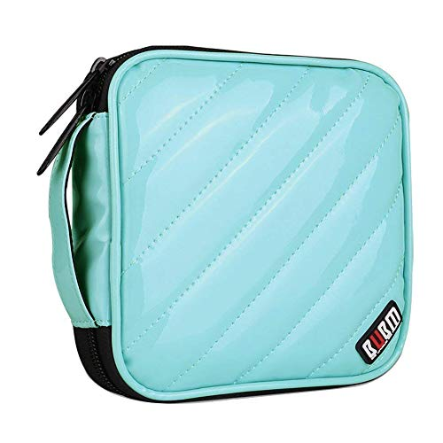 BUBM PU Smooth Leather Cover 32 Disc Case CD DVD Wallet Storage Organizer Travel Bag (Light Blue)