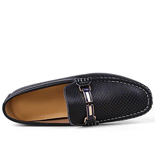 Rismart Hombres Alta Calidad Elegante Mental Corchete Cuero Zapatos de los Holgazanes 9927 Negro