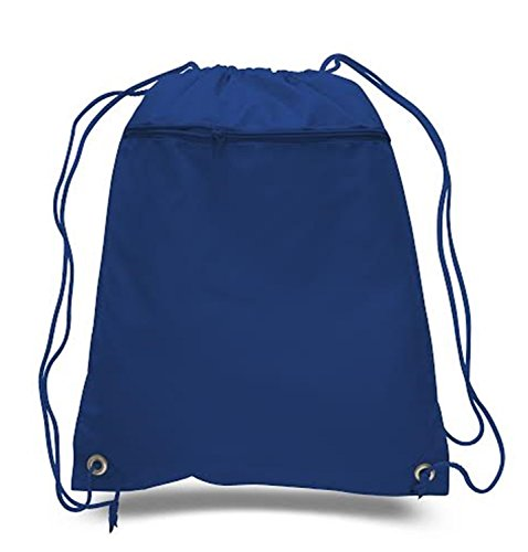 - Drawstring Polyester Backpack with Front Pocket (Single) (Royal)
