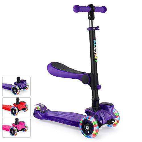 GOOGO 2 in 1 Scooter for Kids with Removable/Folding Seat, Kick Scooter 3 Wheel for Toddlers Girls & Boys - Adjustable Height, LED PU Flashing Wheels for Children Ages 2-14 (Purple)