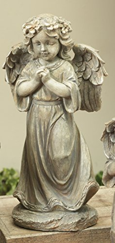Beautiful Rustic Woodland Angel Figurine Garden Statue - Indoor or Outdoor Decoration (Praying) (Rustic Furniture Old Garden)