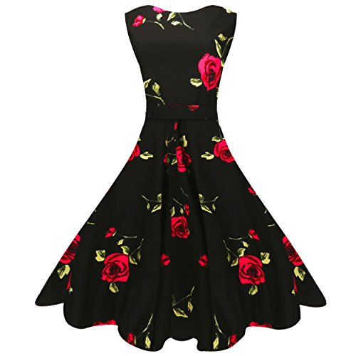 MaggieX 60s Vintage Spring Swing Dress for Women A-Line (L, Q001-9)